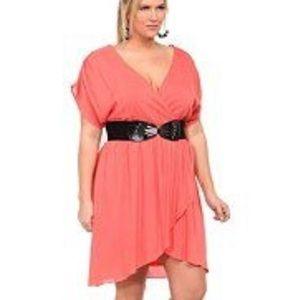 Torrid | Coral Faux Wrap Short Sleeve Short Dress